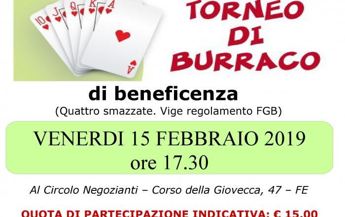 Torneo di burraco LILT 15 febbraio 2019 locandina 1